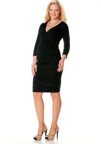 Motherhood 3/4 Sleeve Side Ruched Maternity Dress