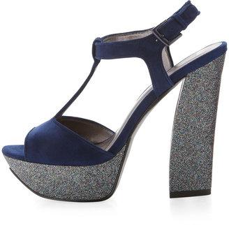 Pelle Moda Yvaine T-Strap Glitter Sandal, Navy