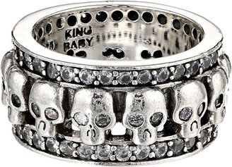 King Baby Studio - Wide Band Ring w/ Skulls and CZ $435 thestylecure.com