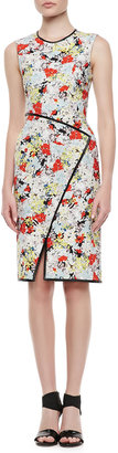 Erdem Fitted Floral Dress with Envelope Wrap Skirt