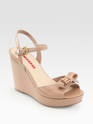Prada Patent Leather Bow Wedge Sandals