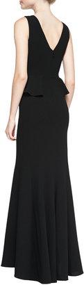 BCBGMAXAZRIA Silvia Lace-Inset Peplum Gown