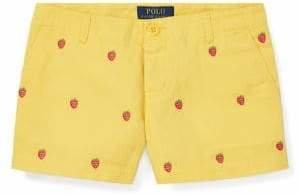 Ralph Lauren Childrenswear Girl's Embroidered Cotton Chino Shorts