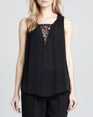 Rebecca Taylor Lace-Inset Sleeveless Top