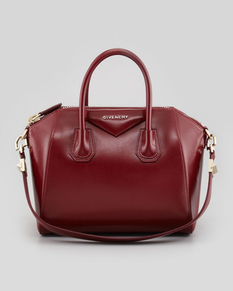 Givenchy Antigona Small Shiny Box Satchel Bag, Burgundy