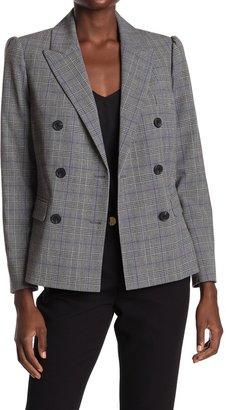 Rebecca Taylor Stripe & Leather Tweed Blazer