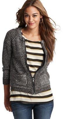 LOFT Cotton Tweed Zip Cardigan