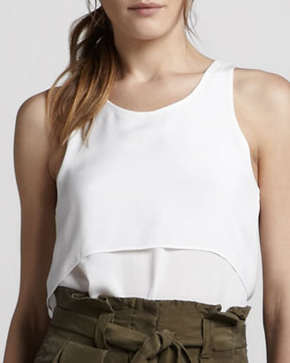 Theory Saleya Tiered Tank Top, White