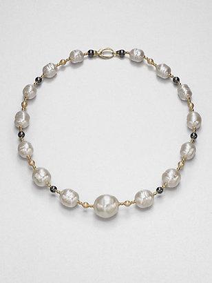 Majorica White Baroque & Champagne Pearl Necklace