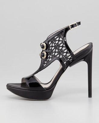 Jason Wu Ankle-Wrap Lace-Front Platform Sandal, Black