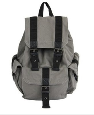ChicNova Gray Canvas Backpack Bag with Pin Buckle Belt Detail