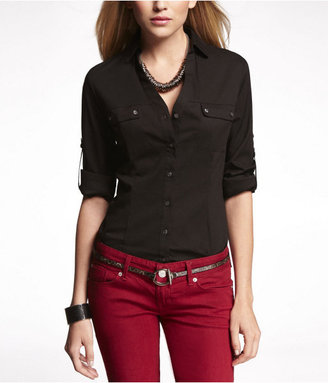 Express Convertible Sleeve Two-Pocket Essential Shirt