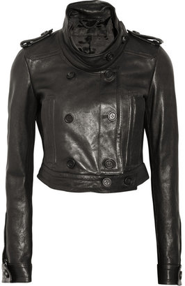 Burberry Cropped leather biker jacket