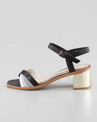 Pour La Victoire Rhea Golden-Heel Sandal, Black/Gray/Light Gray