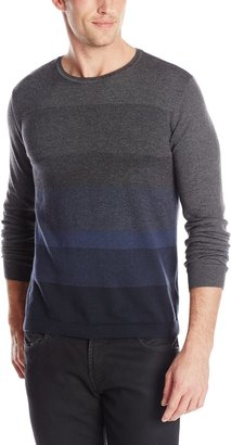 Calvin Klein Men's Cotton End On End Striped V-Neck Sweater