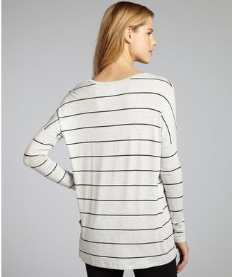 Wyatt Grey And Black Striped Stretch Jersey Hi-Low Tunic