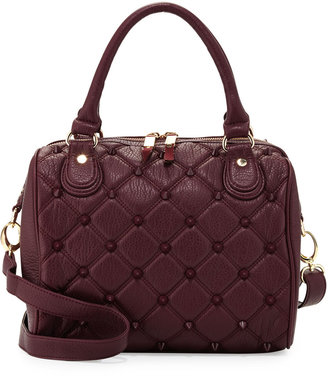Deux Lux Empress Stud Quilted Faux-Leather Duffle Bag, Berry
