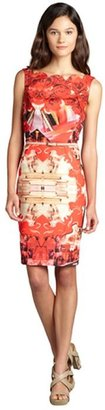 Single Dress red and gold belted scalloped neck pattern dress
