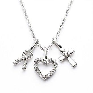 Diamond Petites 10k White Gold 1/10-ct. T.W. Diamond Ribbon, Heart & Cross Pendant
