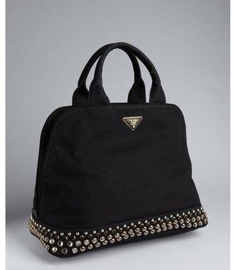 Prada black canvas jeweled base top handle bag