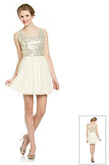 As U Wish Juniors' Gold Sequin Party Dress