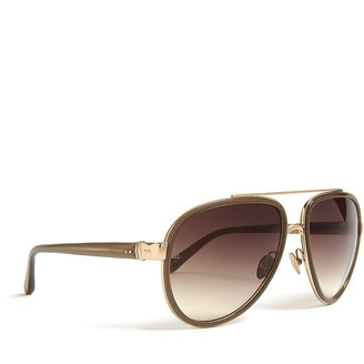 Linda Farrow Luxe Rose Gold Plated With Mocha Lens Aviator Sunglasses