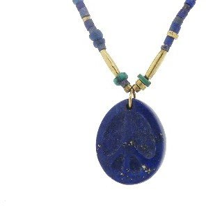 Lapis Elisa Solomon Peace Pendant on & Turquoise Beaded Chain