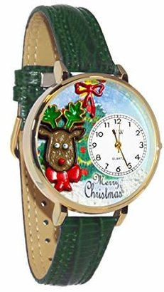 Whimsical Watches Unisex G1220012 Christmas Reindeer Hunter Green Leather Watch
