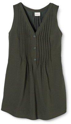 Merona Women's Knit to Woven Pintuck Tank