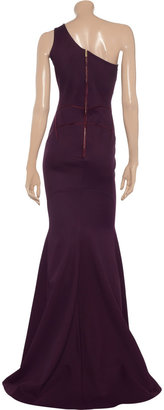 Zac Posen One-shoulder stretch-woven jersey gown