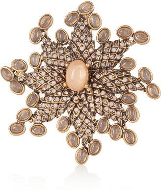 Oscar de la Renta Gold-plated cabochon brooch necklace