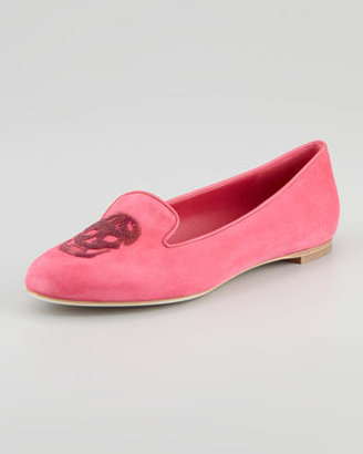 Alexander McQueen Embroidered Sequined Skull Smoking Slipper, Fuchsia