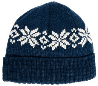 Asos Fisherman Beanie Hat with Snowflake Design - Blue
