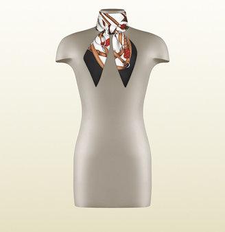 Gucci Equestrian Print Silk Foulard