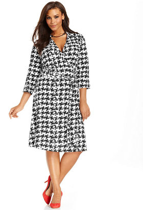 INC International Concepts Plus Size Dress, Three-Quarter-Sleeve Houndstooth Wrap