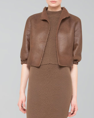 Akris Cropped Open Leather Jacket