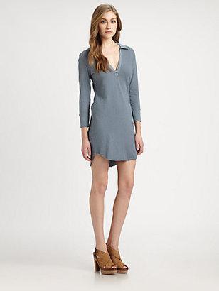 James Perse Three-Quarter Sleeve Polo Dress