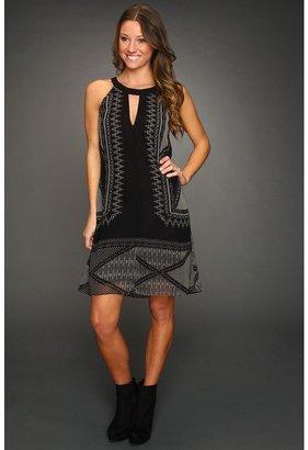 Sanctuary Scarf Tunic Dress (Black Mo Print) - Apparel