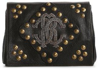 Roberto Cavalli Leather Branded Stud Clutch