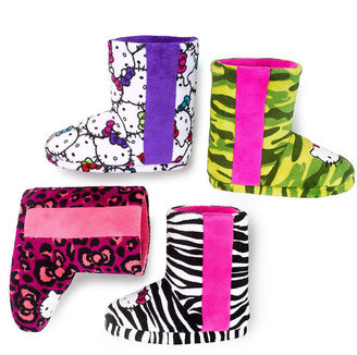 Hello Kitty Printed Plush Boot with Stripe Slippers