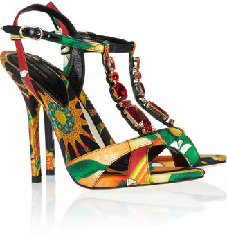 Dolce & Gabbana Crystal-embellished printed satin-twill sandals