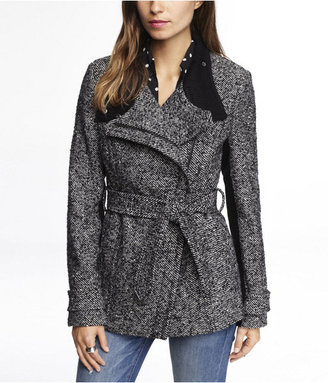 Express Asymmetrical Knit Trimmed Boucle Coat