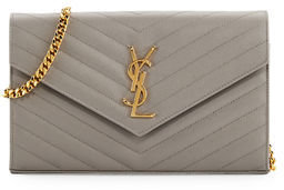 Saint Laurent Monogram Matelassé Leather Wallet-on-Chain $1,550 thestylecure.com