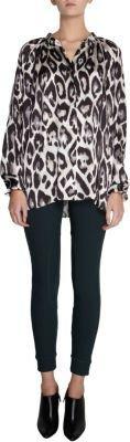 Lanvin Panther Print Button Front Blouse