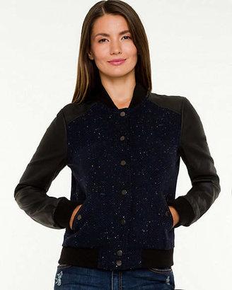 Le Château Tweed & Leather-Like Baseball Jacket