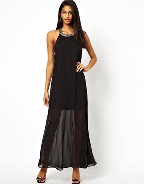 Asos Strap Embellished Maxi Dress - Black