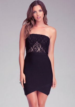 Bebe Strapless Lace Dress