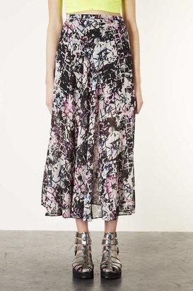 Topshop Grid Floral Panel Maxi Skirt