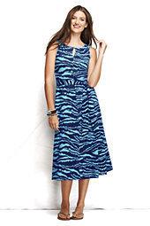 Classic Women's Petite Knit Keyhole A-line Dress-Multi Floral