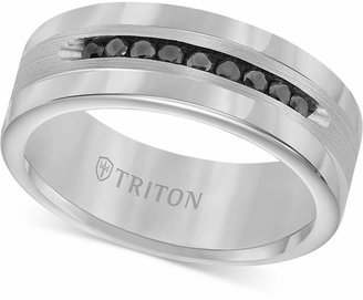 Triton Men Tungsten and Sterling Silver Ring, Channel-Set Black Diamond Accent Wedding Band